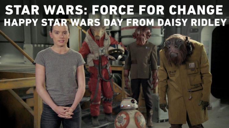Star Wars Day: Daisy Ridley saluta i fan della Saga in un video