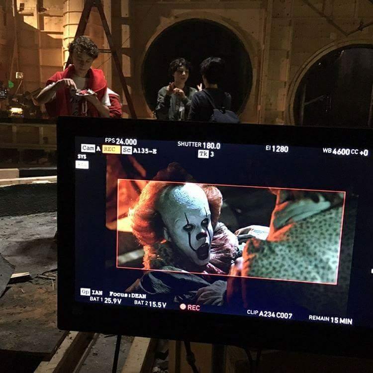 il clown pennywose in foto dal set di IT