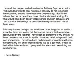 Anthony Rapp accusa il premio oscar Kevin Spacey di molestie sessuali