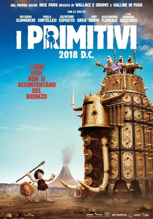 Il poster e la lista dei doppiatori italiani di I Primitivi, il cartoon di Nick Park