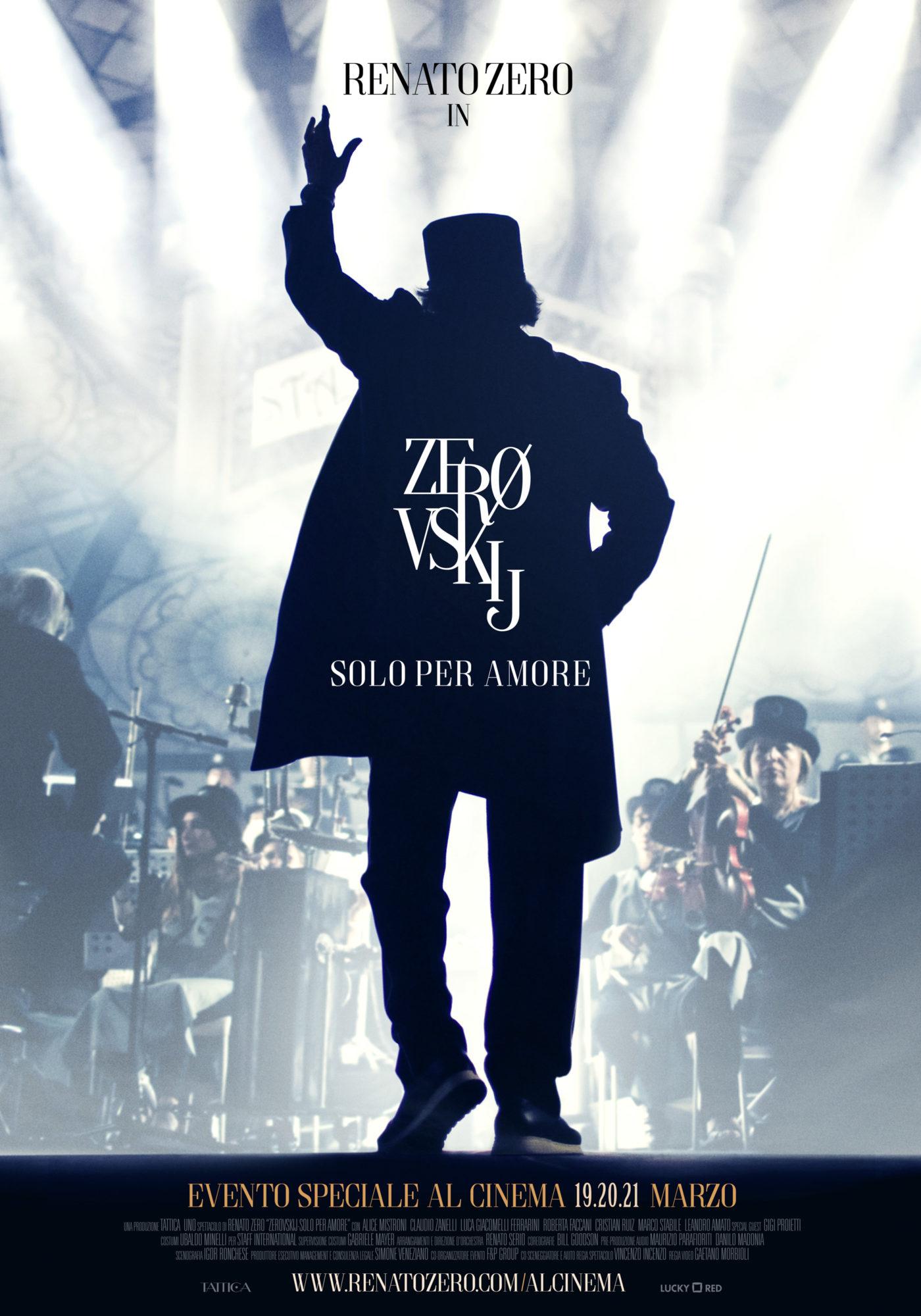 Trailer e poster di Zerovskij - Solo per Amore, lo spettacolo di Renato Zero