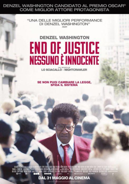 Il poster italiano di End of Justice - Nessuno è innocente, con Denzel Washington
