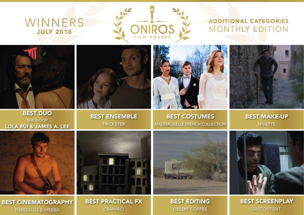 Oniros Film Awards - Ecco i nomi dei vincitori del concorso Luglio 2018
