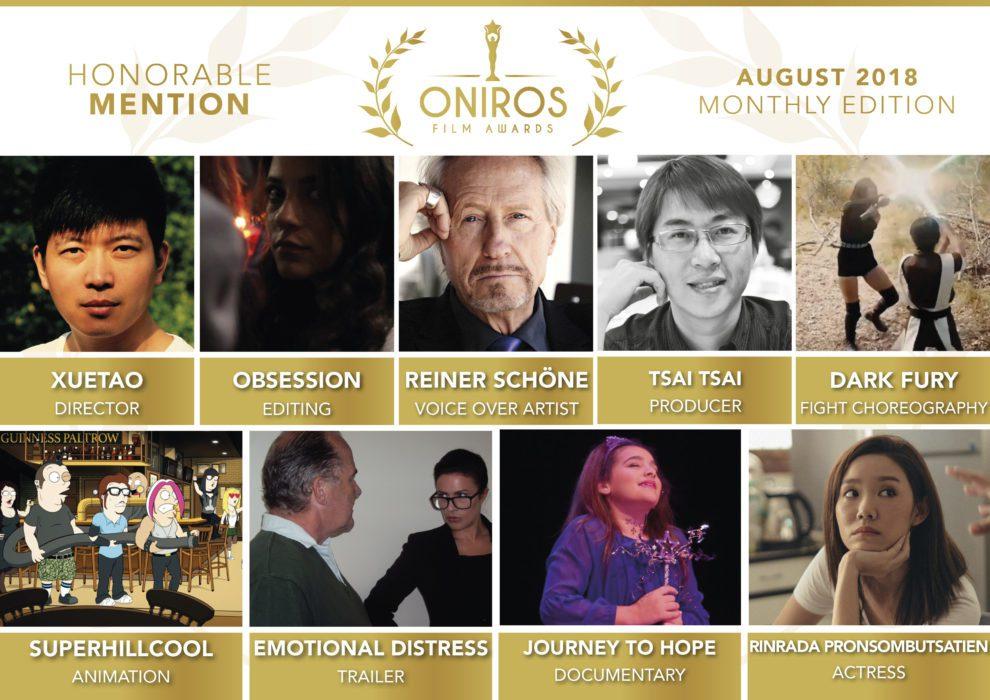 Oniros Film Awards - Ecco i nomi dei vincitori del concorso Agosto 2018