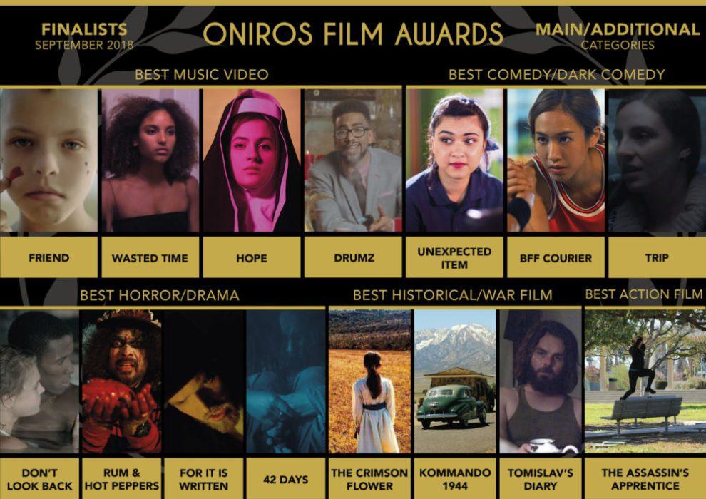 Oniros Film Awards - La direzione annuncia i finalisti di Settembre 2018