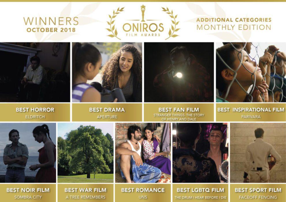 I vincitori del concorso Ottobre 2018 di Oniros Film Awards