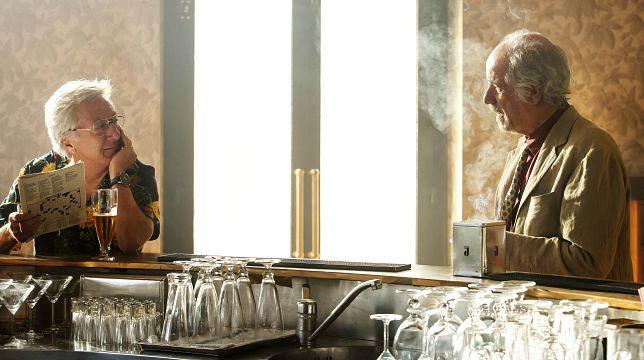 Toni Servillo e Dustin Hoffman sul set di L'uomo del labirinto, di Donato Carrisi