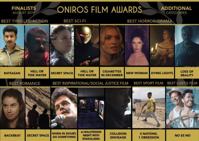 Oniros Film Awards: La lista dei finalisti del concorso Agosto 2019